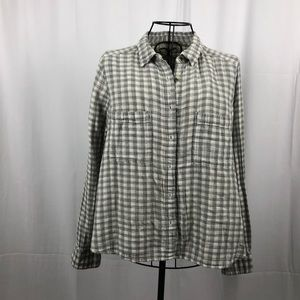 Lou & Grey cotton gingham gray blouse pockets S